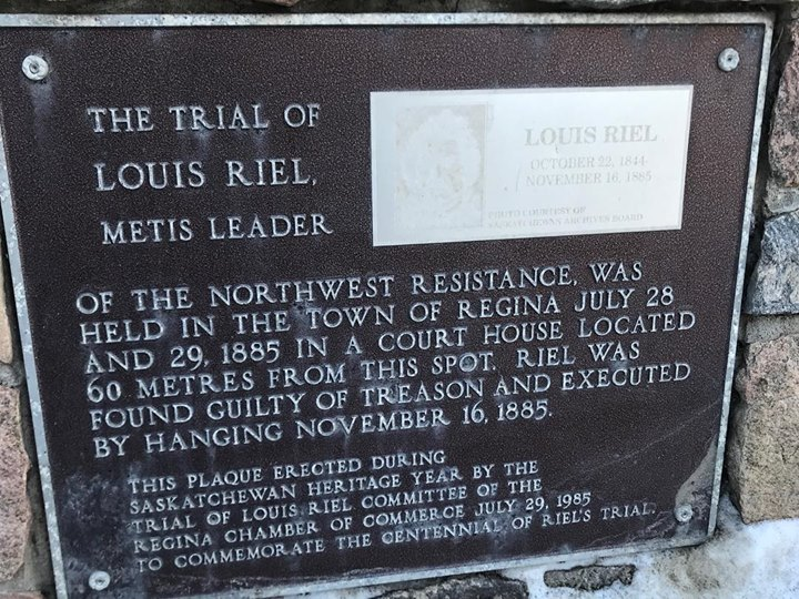 Last image from Regina: across the street from the hotel where most of the cast of Riel's Heart of the North were staying in Regina, is this plaque. It tells the story of how Riel was executed by the Canadian government after being convicted of trumped-up charges of treason. Rest in peace Mr. Riel, the artists are now speaking, as you foretold.