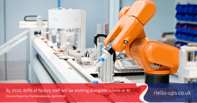 orange robotic machine on operating on a smart factory production line