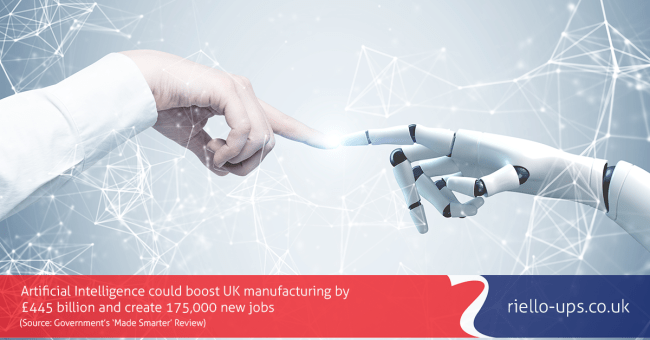index finger on human hand touching index finger on robotic hand to represent the rise of industry 4.0