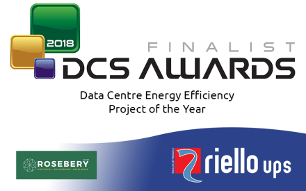 "DCS Awards 2018 logo with Riello UPS as a finalist in the ""Data Centre Energy Efficiency Project of the Year"""