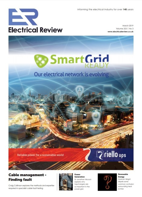 front cover of Electrical Review magazine's March 2019 edition
