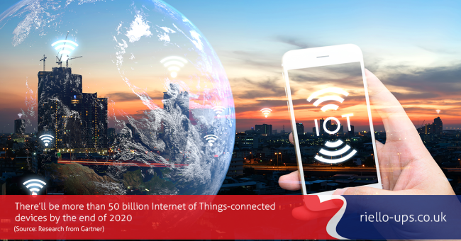 White hand holding smartphone against backdrop of a city at sunset with globe superimposed to represent interconnected internet age world