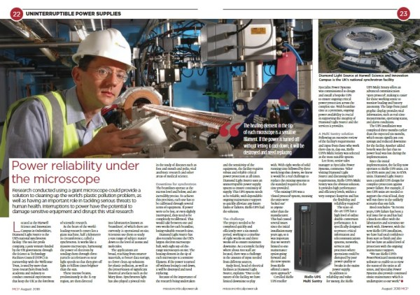 double page spread from Mission Critical Power magazine, article is a case study of Riello UPS's work with Diamond Light Source