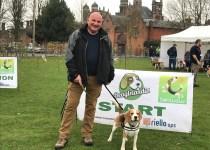 Riello UPS Leo Craig with beagle Ziggy at Beaglelandia 2018 world dog walking record
