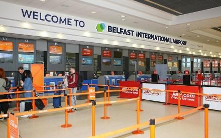check-in desk at Belfast International Airport (BIA) easyJet Jet2.com