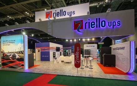 Riello UPS stand at trade show Data Centre World 2020