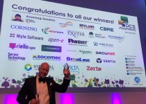 Chris Cutler from Riello UPS with Data Centre Energy Efficiency Project of the Year trophy at DCS Awards 2018