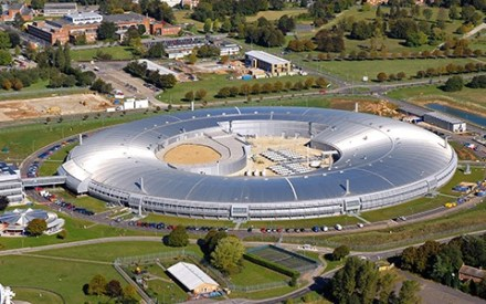 aerial view of synchrotron at diamond light source, oxfordshire