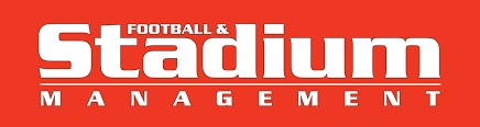 Football stadium management (FSM) magazine logo white text red background