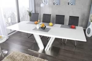 Design Esstisch VALENCIA 160 220cm weiß ausziehbar ...