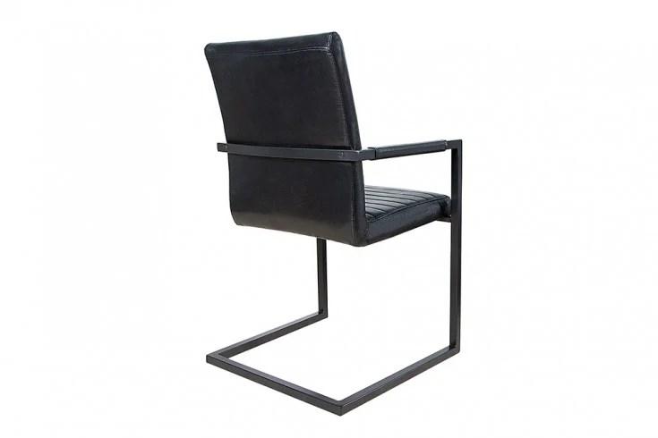 Freischwinger Stuhl IMPERIAL antik schwarz mit Armlehne ...
