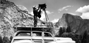 Ansel Adams On Car with Ries tripod