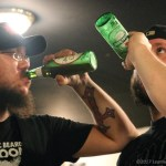 Larry Jackson Jr of Wasted Theory toasts with Guba Renwick of King Bison - Photo by Leanne Ridgeway