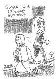 A nun runs for the bus…