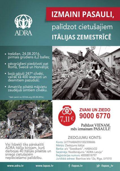 ADRA palīdz Itālijai