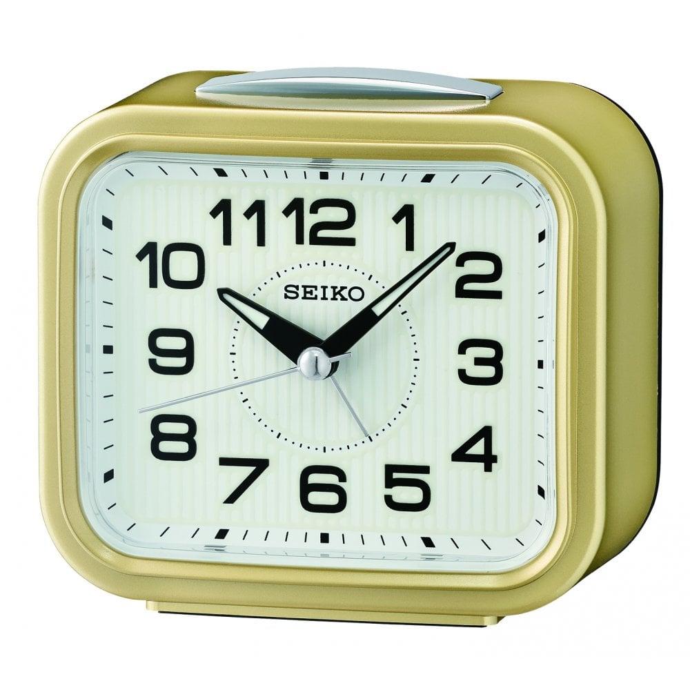 Seiko Clear Bedside Quartz Battery Bell Alarm Clock With Light Qhk050g