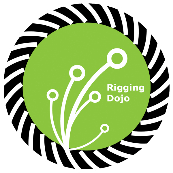 Rigging Dojo logo jagged edge around green circle filled with white growing smaller circles