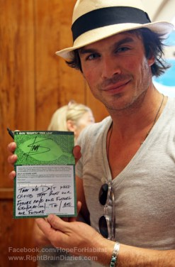 Ian Somerhalder signed Rebirth tree message of hope