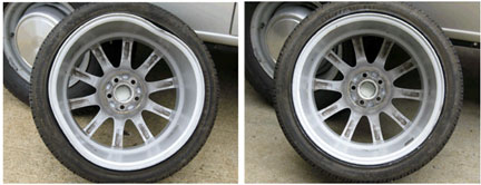 A wheel shop repair has made an old set of wheels look new