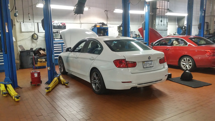 Josh's BMW 328i in Technician's Bay