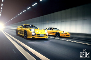 Mazda RX-7 FD and Toyota Supra Turbo in Tunnel, photo by OFIMBlog