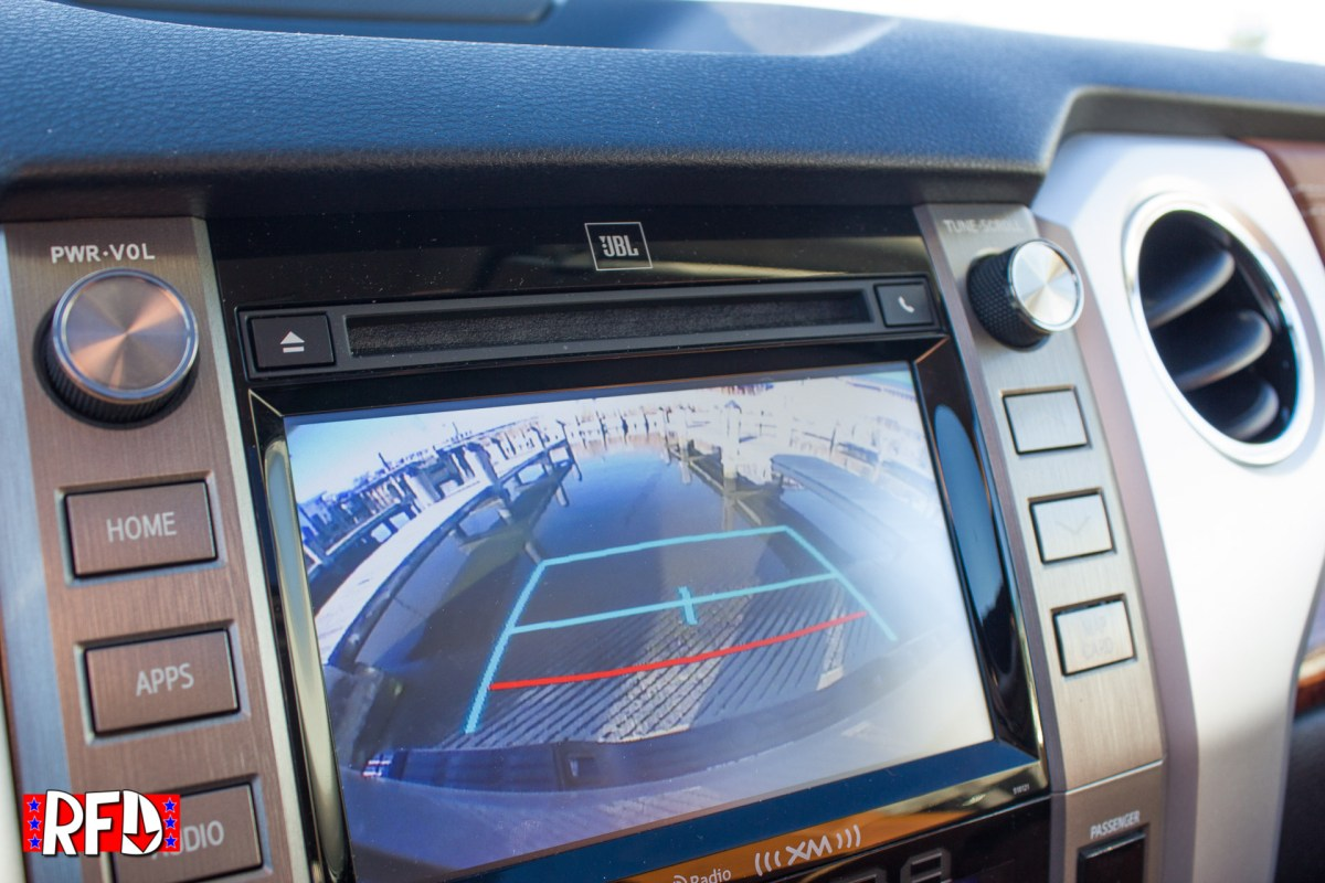 Demonstrating the rear view camera on the 2017 Toyota Tundra 1794 Edition
