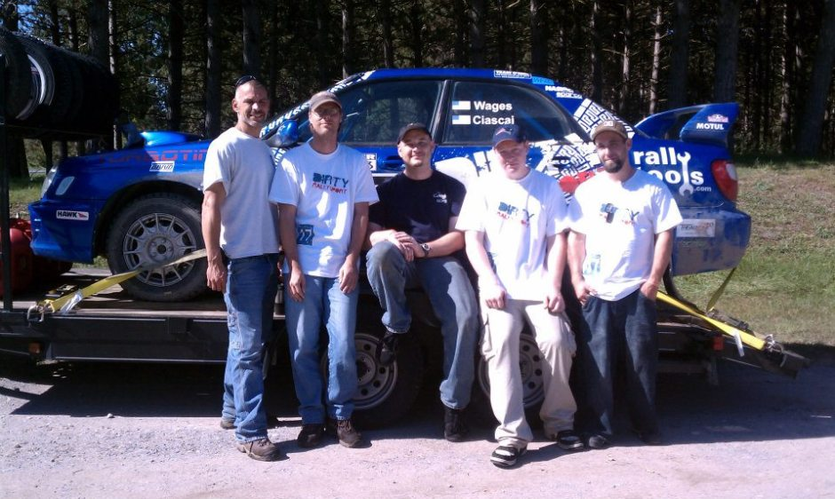 Eric Wages' rally service crew, Black River Stages 2011