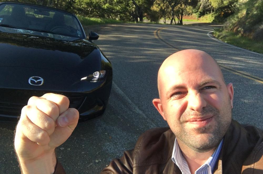Josh Fist Pumping with a Mazda MX-5 Miata