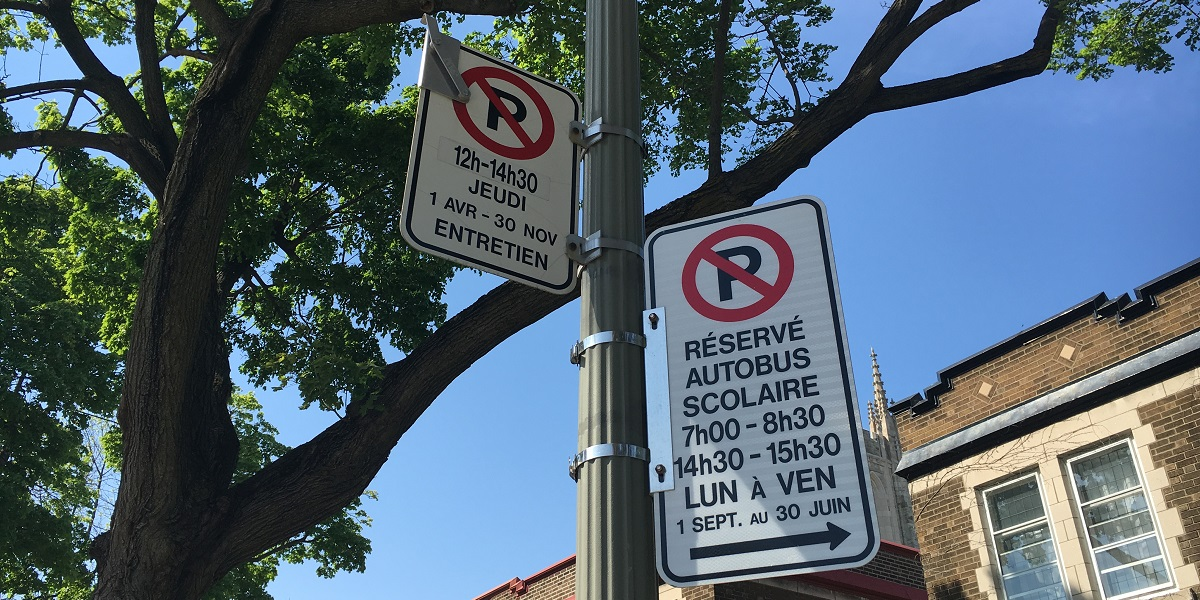 Montreal no parking signs