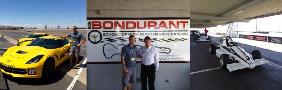 A brand new Stingray, me and Bob Bondurant, and a Formula Mazda racecar.