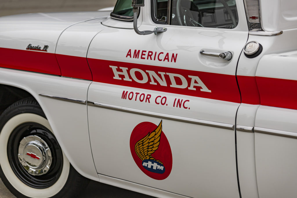 American Honda logo on side of 1961 Chevy Pickup