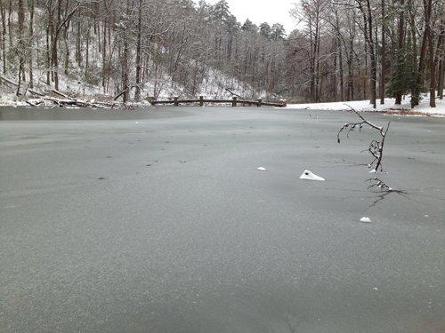 The pond at Stonebridge when it is frozen.