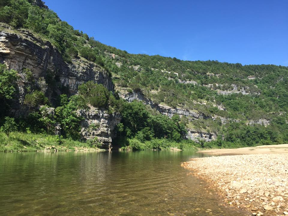 Kayaking and camping on the Buffalo National River in Arkansas from Buffalo Point to Rush