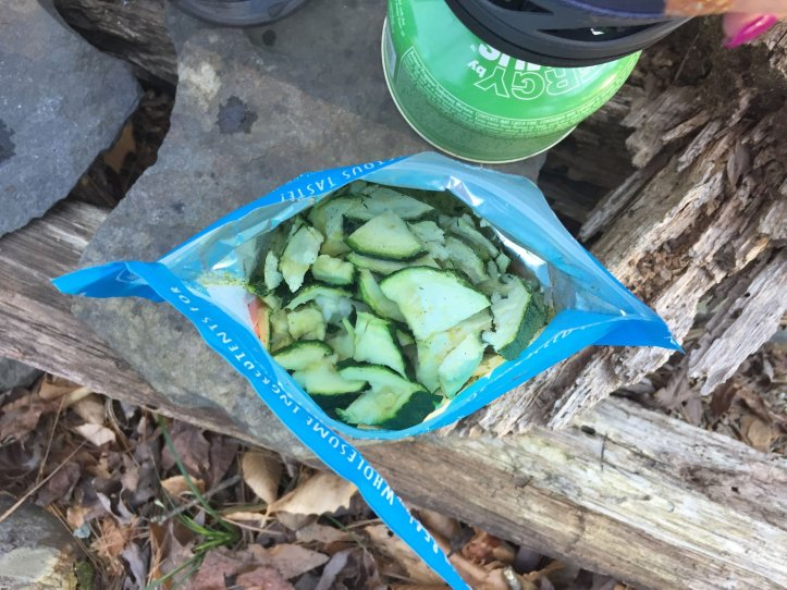 Large chunks of zucchini's can be seen in Bushk's Kitchen meal