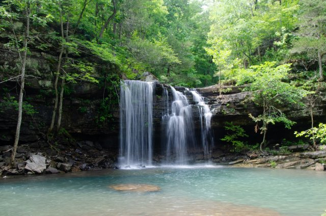 A waterfall is shown