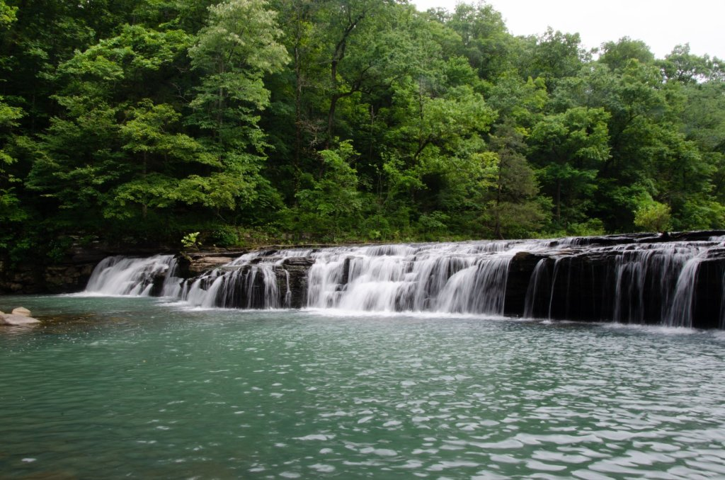Richland Creek Falls spans the entire creek