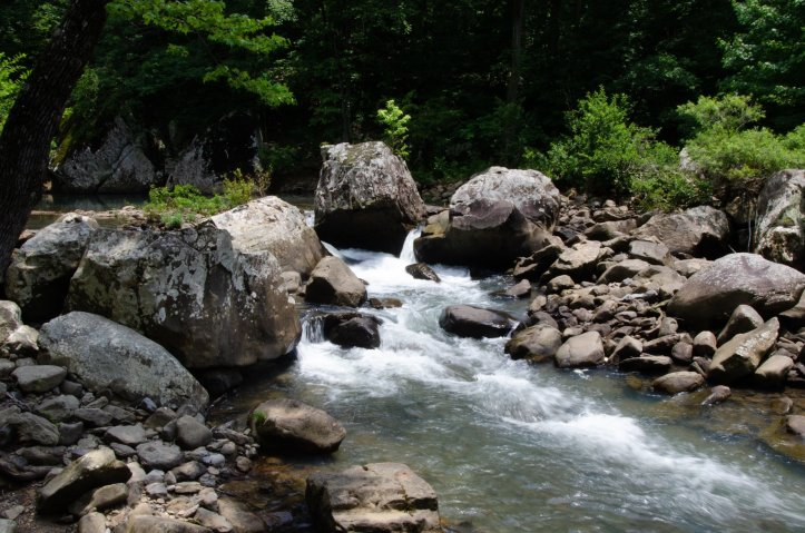 A beautiful cascade is shown along the trail to Twin Falls in the Richland Creek Wilderness Area