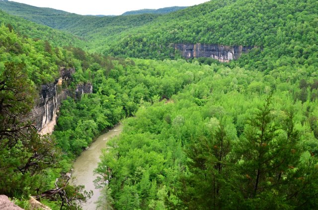 The Buffalo National River is shown from Big Bluff on the Goat Trail