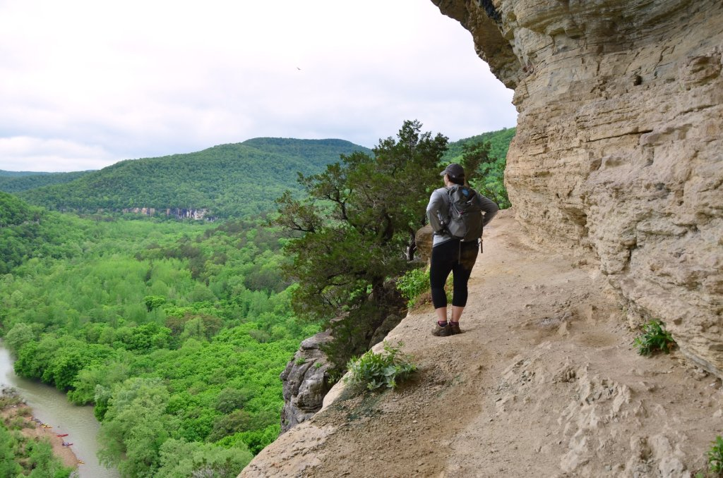 Hiking along Big Bluff on the Goat Trail in on the Buffalo National River