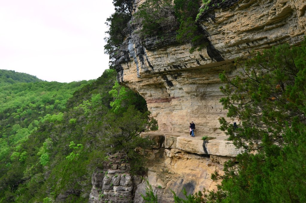 Hikers make their way along Big Bluff on the Goat Trail in the Buffalo National River