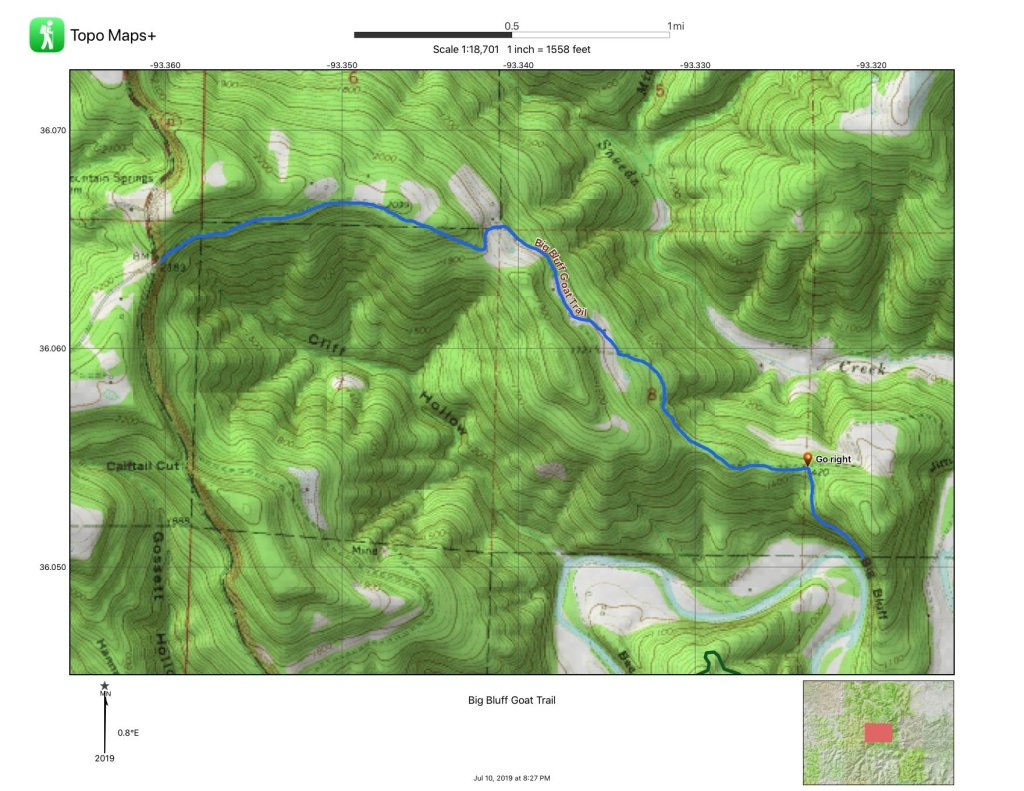 A map of the Centerpoint Trail and Goat Trail is shown