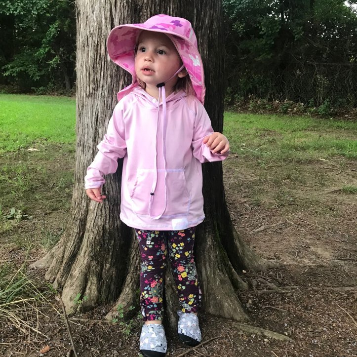 Sun hat and hoodie