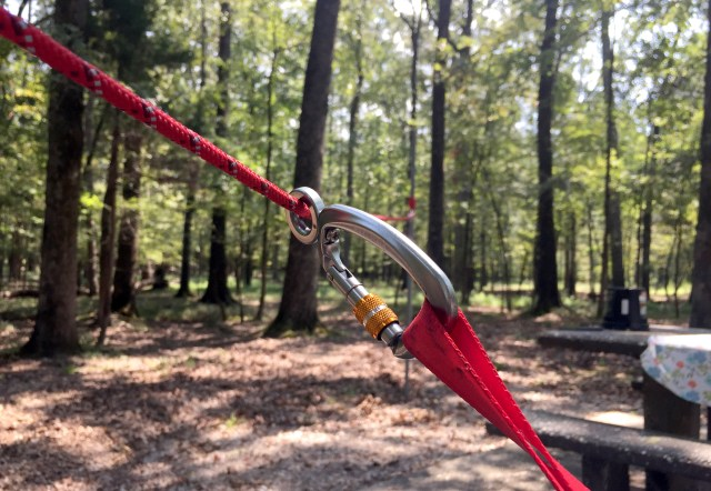 a close up of the knot-a-hitch is shown as a piece of best dog camping gear