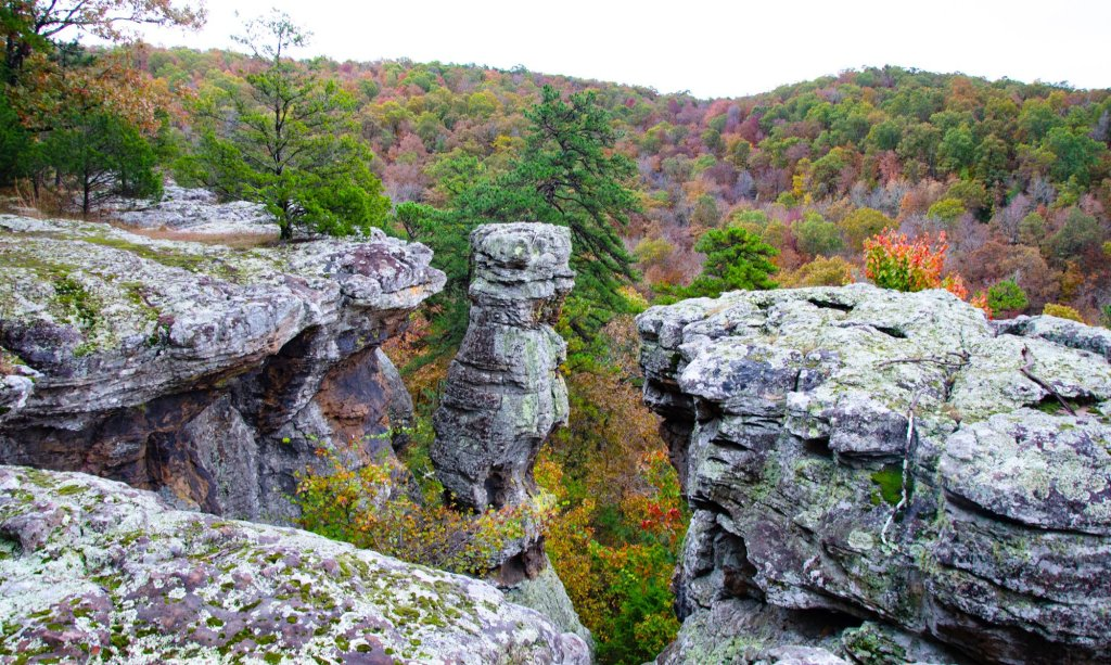 Pedestal Rocks Kings Bluff loops in the Ozark National Forest in Arkansas
