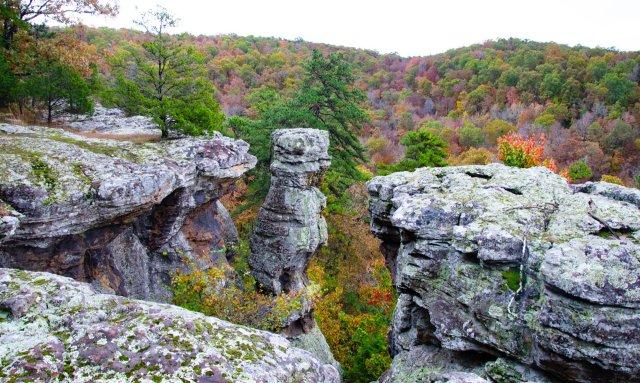 Pedestal Rocks Kings Bluff loops in the Ozark National Forest in Arkansas
