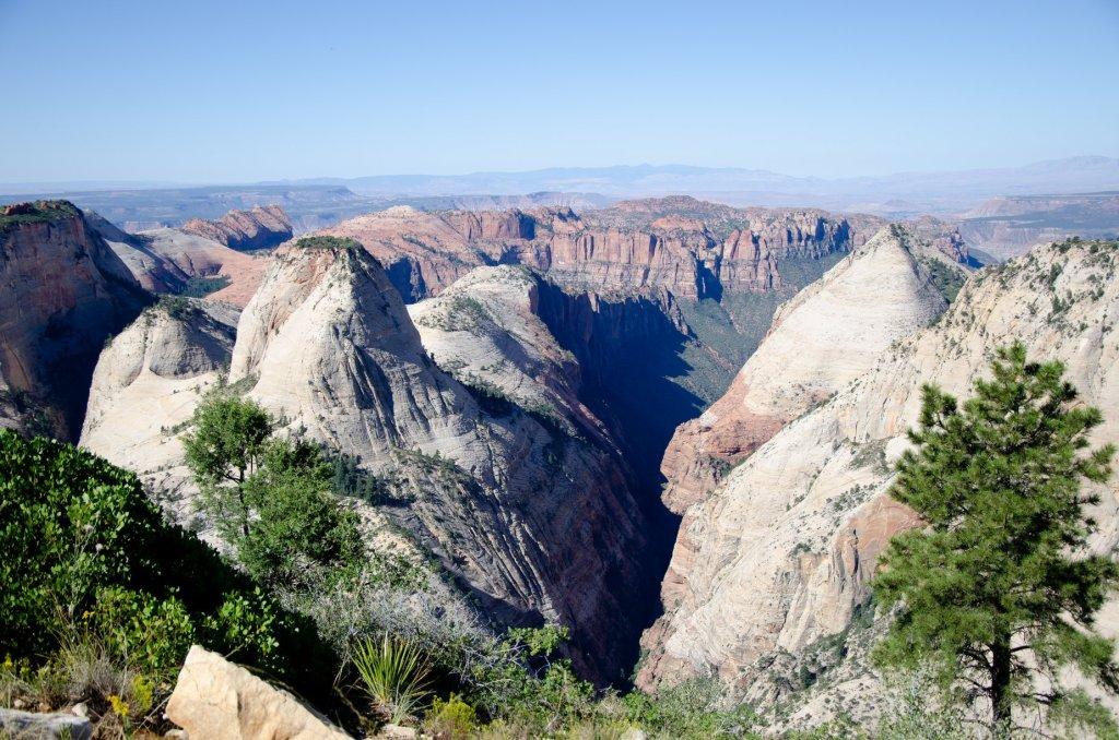 The unique terain of Zion National Park is shown