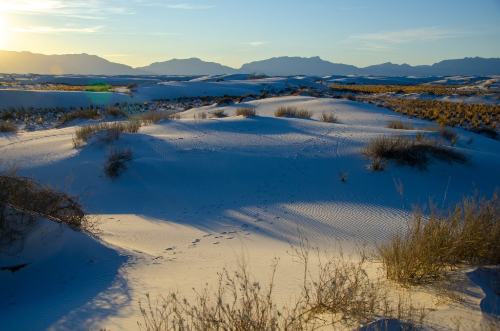 White Sands National Park is shown at sunset