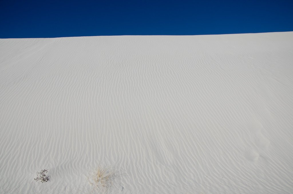 A sand dune loops at White Sands