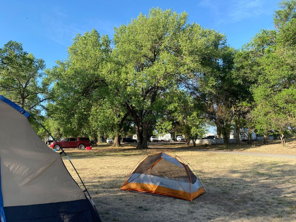 Tents are shown at Black Mesa State Park