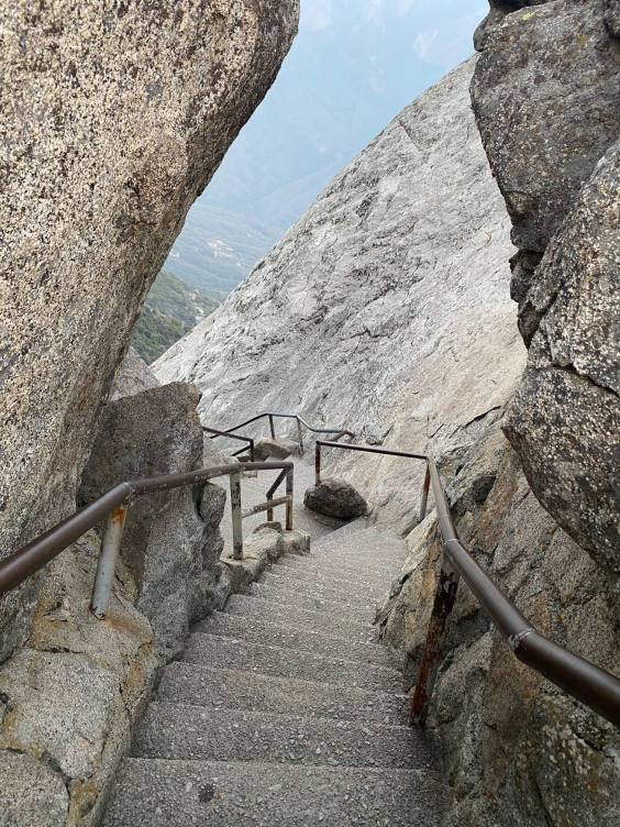 The steps to moro rock is shown at Sequoia and Kings Canyon National Parks